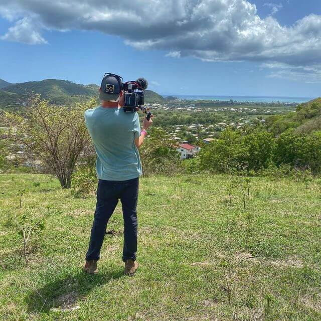 Camera guy Woody capturing a beautiful view of Jolly Harbour, Antigua