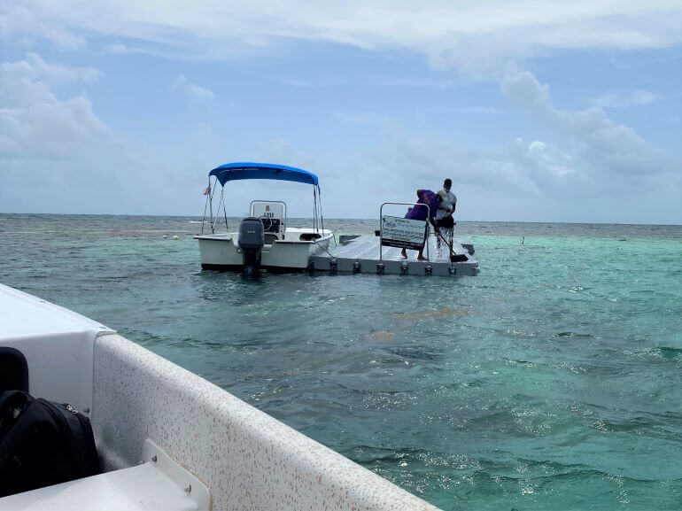 Approaching the platform to swim with the stingrays at Stingray City in Antigua