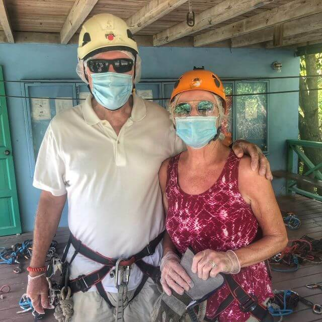 Geared up for ziplining in Antigua