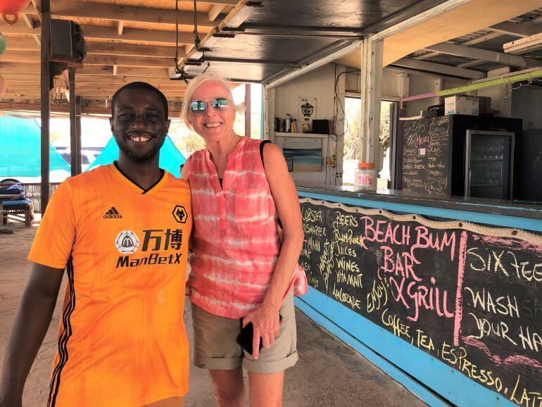 Avery Henry at Beach Bum Bar on Half Moon Beach, Antigua