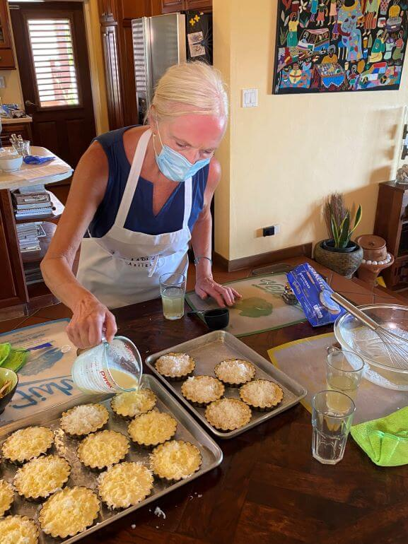 """Preparing custard tarts at Nicole's Table """"All About Jerk"""" cooking class in Antigua and Barbuda"""