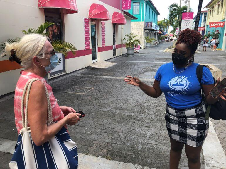Catherine Sweeney and Tiffany Azille-Henry at Heritage Quay in St. John's, Antigua, at the beginning of the Eat 'n Lime Food Tour