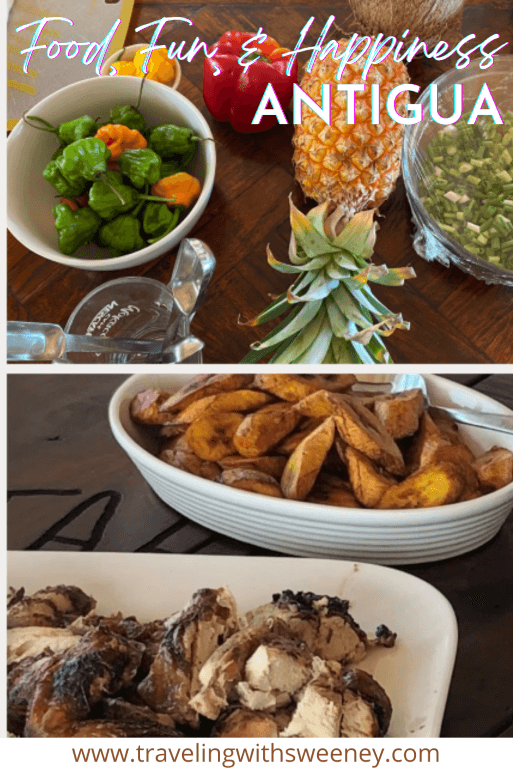 Fresh produce, jerk chicken, and plantains from Nicole's Table cooking class